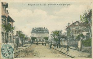 Carte postale aboulevard de la Republique début 20e siecle Nogent-sur-Marne