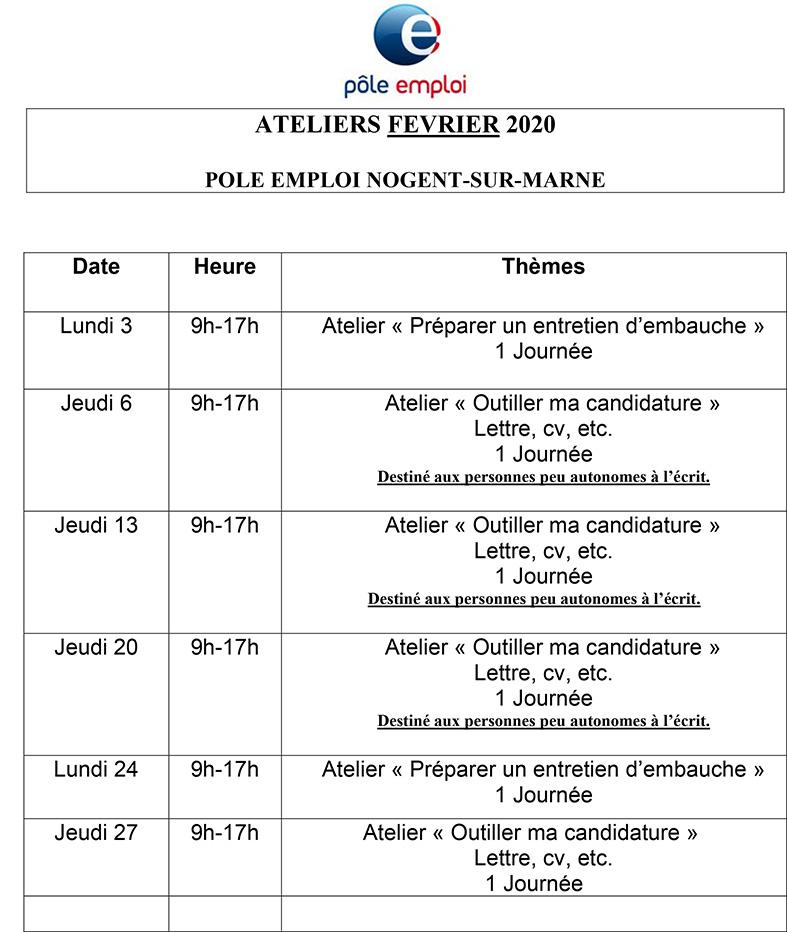Ateliers Du Pôle Emploi Janvier Février 2020 Ville De