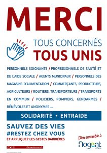 merci tous concernés tous unis covid Nogent-sur-Marne