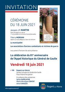 81e anniversaire appel du 18 juin Nogent-sur-Marne